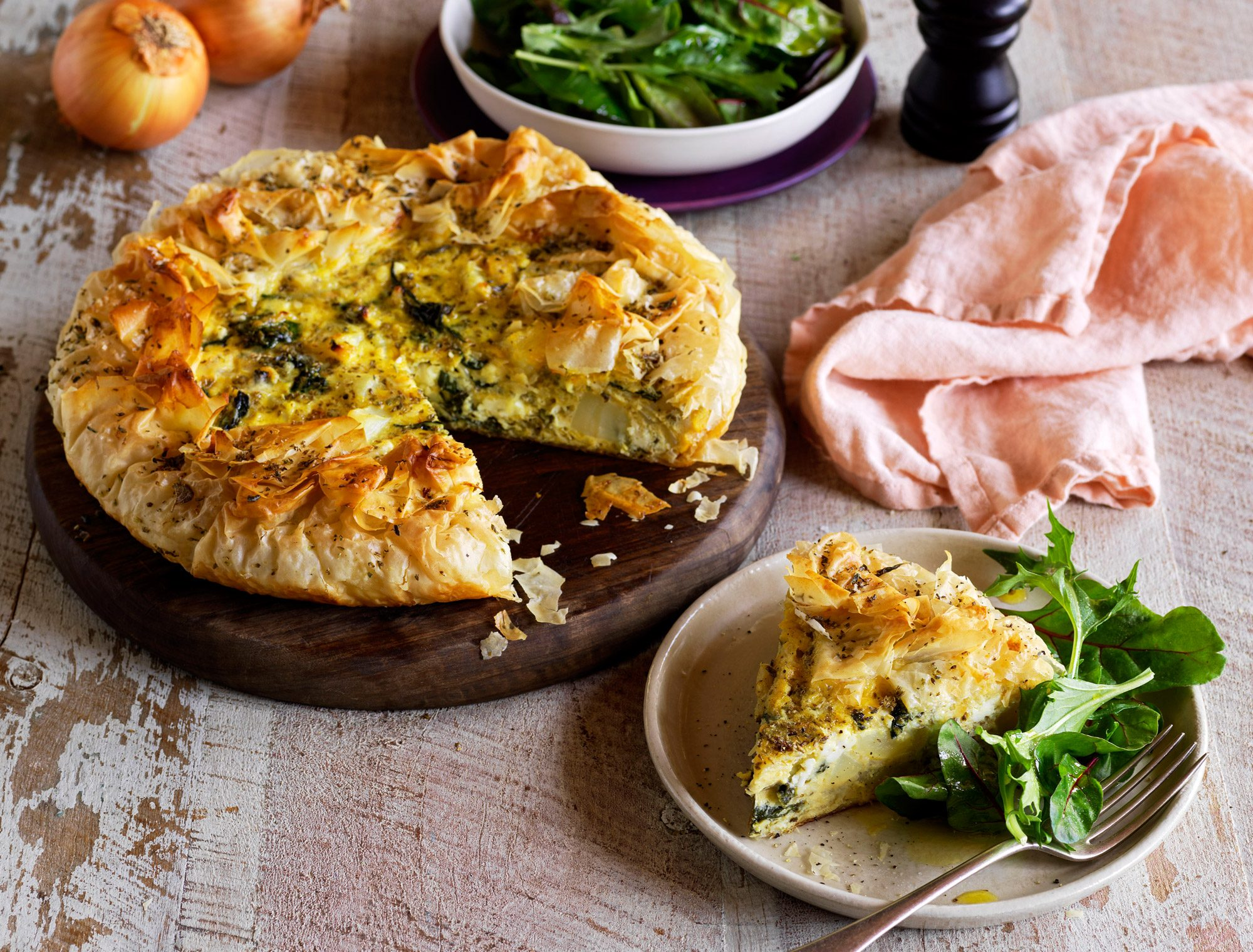 Onion, Potato and Feta Pie