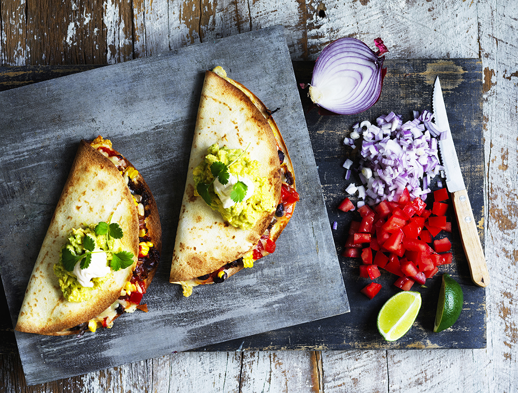 Caramelized onion, bean and corn tacos