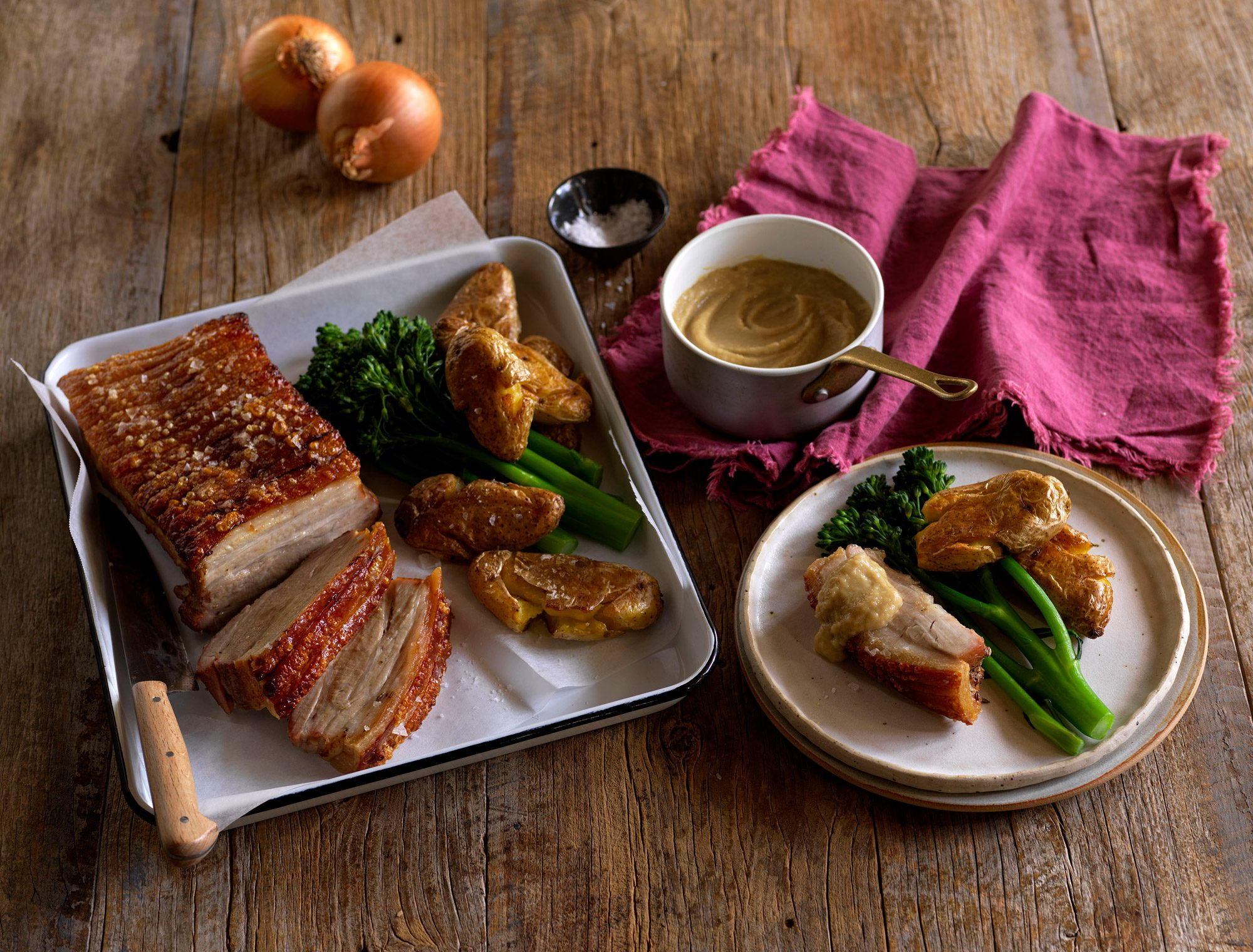 Pork Belly and Roasted Onion Purée
