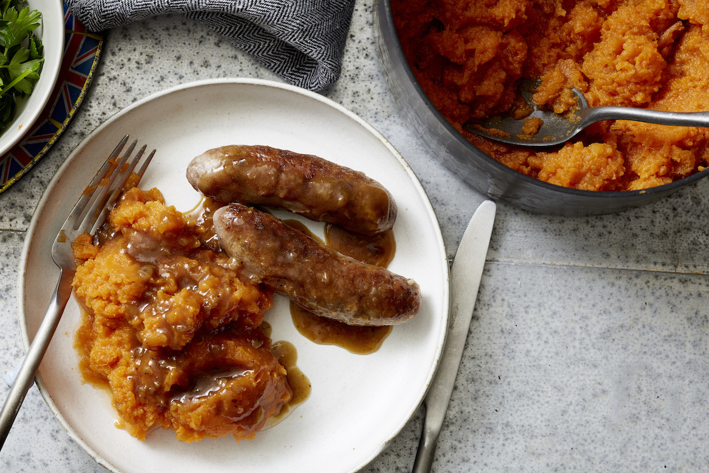 Bangers and Sweet Potato Mash