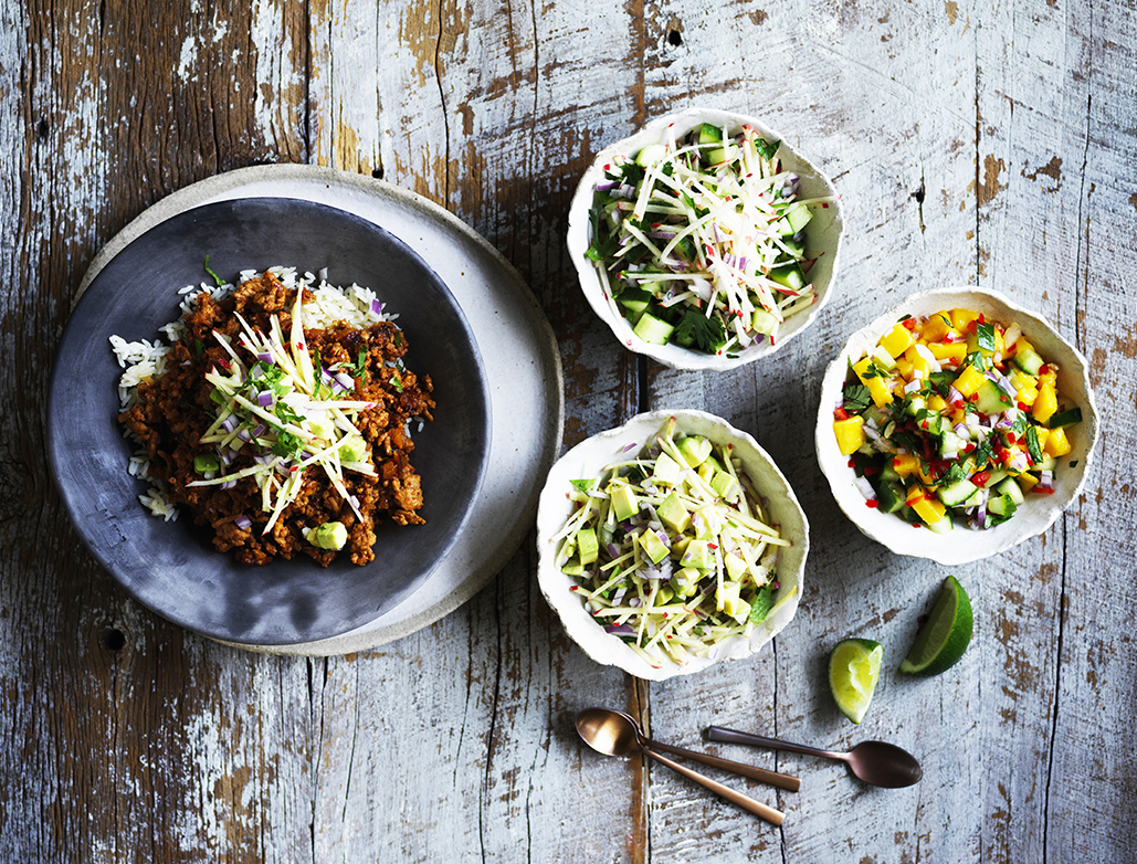 Sticky chipotle pork with avocado and apple salsa
