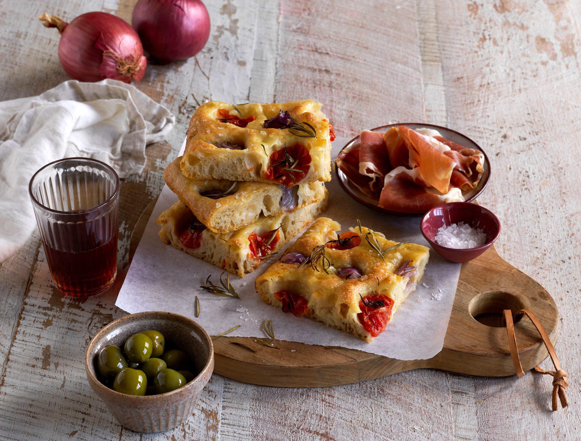 Red Onion and Tomato Focaccia