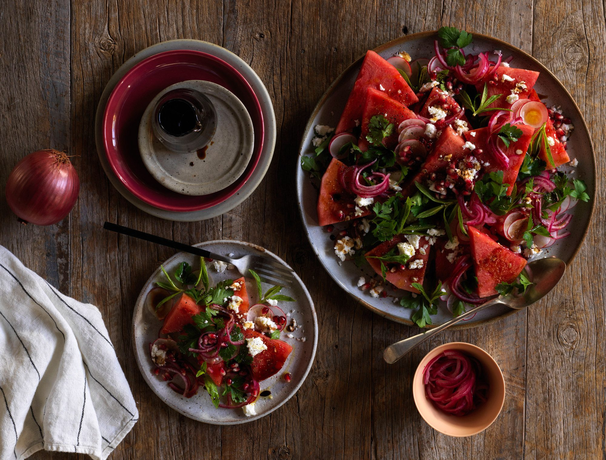 Pickled Red Onion, Watermelon and Feta salad
