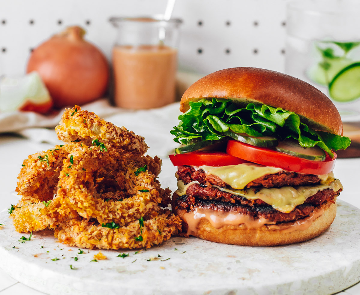 Double Vegan 'Beef' Burger with Spicy Onion Rings