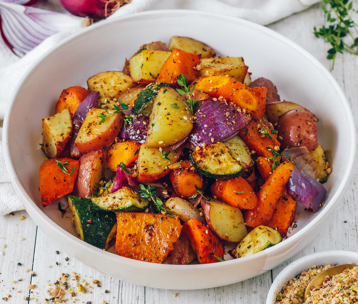 ROAST VEGGIES WITH RED ONION AND DUKKAH