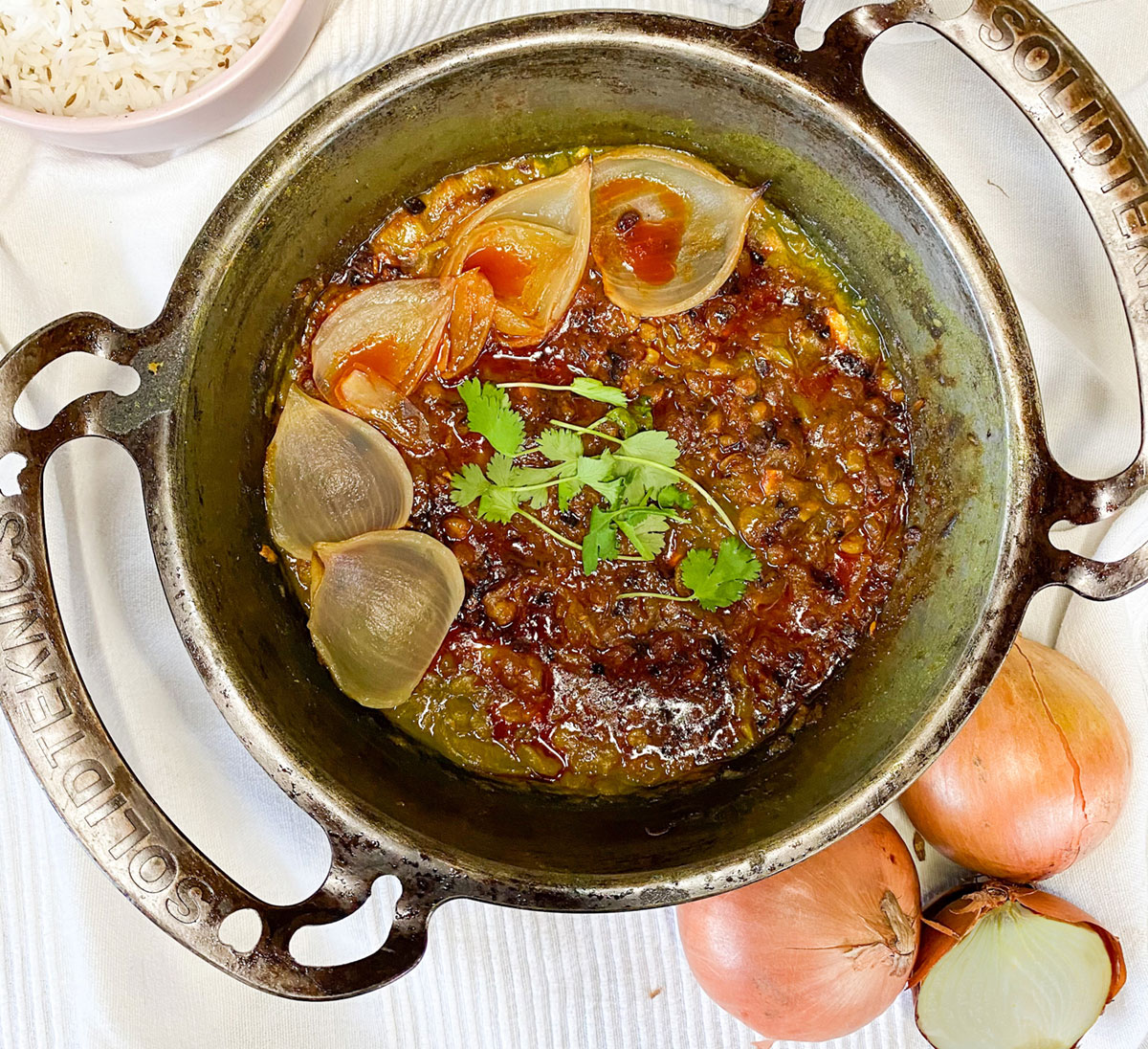 Roast onion dal with tempered onion and cumin